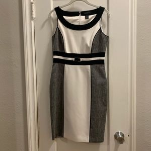 White House Black Market white & gray dress EUC